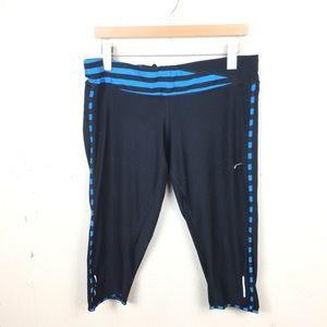 Nike Black Blue Crop Capri Leggings Pants XL